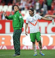FUSSBALL   1. BUNDESLIGA  SAISON 2011/2012   6. Spieltag 1 FC Nuernberg - SV Werder Bremen         17.09.2011 Marko Arnautovic, Claudio Pizarro (v. li.. SV Werder Bremen)