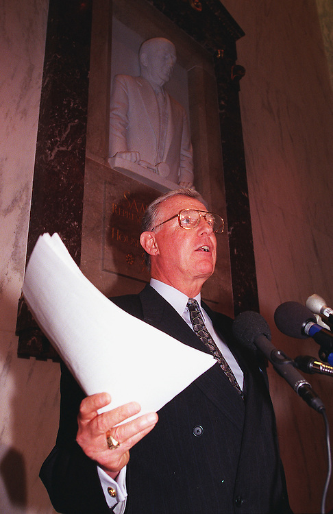 11/06/97.HOUSE CAMPAIGN FINANCE HEARINGS--Chairman Dan Burton,R-Ind., holds a press conference during a break in the hearing on alleged campaign finance irregularities during the 1996 campaign..CONGRESSIONAL QUARTERLY PHOTO BY DOUGLAS GRAHAM