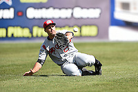 Carolina Mudcats outfielder Anthony Gallas (28) makes a sliding catch during a game against the Frederick Keys on April 26, 2014 at Harry Grove Stadium in Frederick, Maryland.  Carolina defeated Frederick 4-2.  (Mike Janes/Four Seam Images)