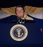 Washington DC., USA, May 10, 1984<br /> President Ronald Reagan attends the annual Senate-House fund raising dinner at the Washington Hilton Hotel. Credit: Mark Reinstein/MediaPunch