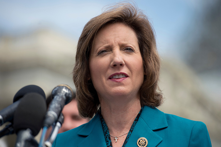 UNITED STATES - MAY 19: Rep. Vicky Hartzler, R-Mo., conducts a news conference at the House triangle to push for repeal of the country-of-origin labeling (COOL) requirements for meat products, May 19, 2015. (Photo By Tom Williams/CQ Roll Call)
