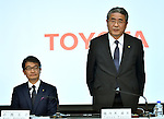 February 3, 2015, Tokyo, Japan - Managing Officer Takuo Sasaki of Japan's Toyota Motor Corp., announces its fiscal third-quarter earnings during a news conferernce at its head office in Tokyo on Wednesday, February 3, 3014. The worlds best-selling auto maker raised its group net profit outlook to a record 2.13 trillion yen for the current fiscal year through March , a 16.8 percent rise from the previous fiscal year, due to a weaker-than-expected yen.  At left is Managing Officer Koki Konishi. (Photo by Natsuki Sakai/AFLO)