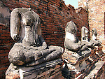 Buddha ruins at the temple of Wat Chai Wattanaram in Ayutthaya near Bangkok, Thailand.