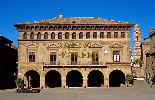 Main Building, Plaza Mayor, Poble Espanyol (Spanish Village) de Montjuic, Barcelona, Spain