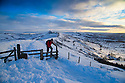 04/02/15<br /> <br /> After a night with temperatures falling well below freezing, a hiker makes his way up Mam Tor in the Derbyshire Peak District near Castleton at dawn this morning.<br /> <br /> All Rights Reserved - F Stop Press.  www.fstoppress.com. Tel: +44 (0)1335 418629 +44(0)7765 242650