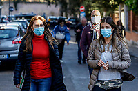 Faithful wearing masks to protect themselves from the Covid-19 arrive to attend the penitential procession on Ash Wednesday, led from the Pope to open Lent in Rome, February 26, 2020.<br /> UPDATE IMAGES PRESS/Riccardo De Luca