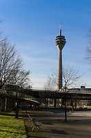 Dusseldorf TV Tower Rheinturm near Johannes-Rau square, Germany