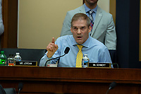 ***FILE PHOTO*** Jim Jordan Accused Of Turning Blind Eye in Sexual Abuse Scandal<br /> Representative Jim Jordan, Republican of Ohio, asks FBI Director Cristopher Wray a question during a United States House of Representatives Judiciary Committee hearing on Capitol Hill in Washington, DC on June 28, 2018. Credit: Alex Edelman / CNP /MediaPunchCAP/MPI/RS<br /> &copy;RS/MPI/Capital Pictures