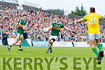 Jonathan Lyne, Kerry in action against Michael Burke, Meath during the Football All-Ireland Senior Championship Quarter-Final Group 2 Phase 3 match between Kerry and Meath at Páirc Tailteann, Navan on Saturday.