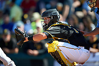 Pittsburgh Pirates catcher Ed Easley (70) during a Spring Training game against the Boston Red Sox on March 9, 2016 at McKechnie Field in Bradenton, Florida.  Boston defeated Pittsburgh 6-2.  (Mike Janes/Four Seam Images)