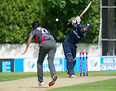ICC World T20 Qualifier - GROUP B MATCH - SCOTLAND V UAE at Grange CC, Edinburgh - Scotland's George Munsey send the ball to the boundary on his way to making 62 and Man of the Match — credit @ICC/Donald MacLeod - 09.07.15 - 07702 319 738 -clanmacleod@btinternet.com - www.donald-macleod.com