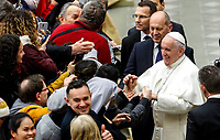 Pope Francis greets the faithful at the end of his weekly general audience in the Paul VI hall at the Vatican, January 22, 2020.<br /> UPDATE IMAGES PRESS/Riccardo De Luca<br /> STRICTLY ONLY FOR EDITORIAL USE