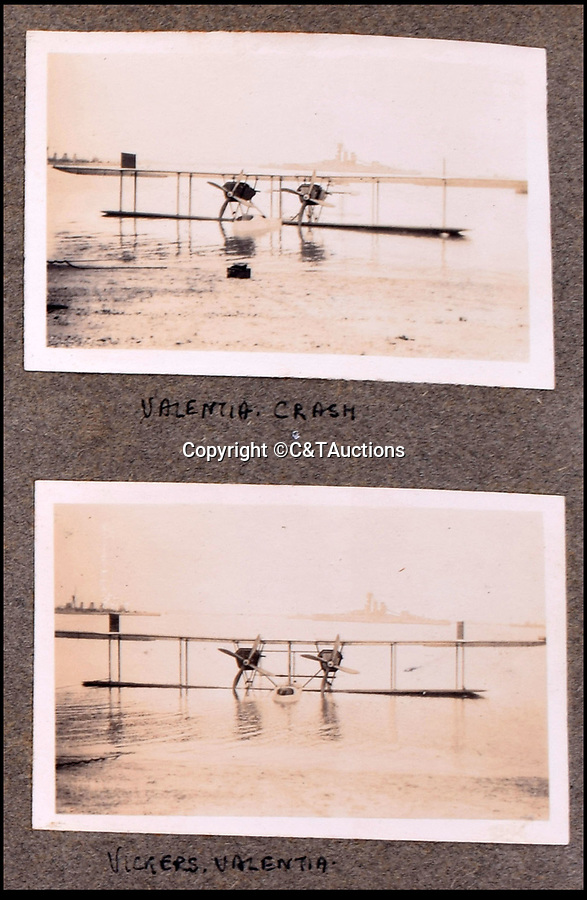 BNPS.co.uk (01202 558833)<br /> Pic: C&TAuctions/BNPS<br /> <br /> A crashed Vickers Valentia prototype flying boat.<br /> <br /> A fascinating photo album which documents the adventures of a captain in the fledgling Royal Naval Air Service has been unearthed after 100 years.<br /> <br /> The photos were compiled by Captain Denis Carey who was based in Maidstone, Kent, and they provide a fascinating insight into the air arm of the Royal Navy during the First World War.<br /> <br /> They show the thrills and spills of the pioneering early days of aviation in a world before health and safety had been invented.