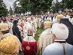 Ceremonial turning of the earth to begin the construction of a monument to the new saint after the Patriarchal Divine Liturgy service with His Holiness Irinej to venerate and glorify the relics of St. Mardarije of Libertyville, St. Sava Monastery Church<br /> <br /> #NGMWADiocese<br /> #GlorificationStMardarije, #Chicago, #PatriarchIrinej, #MetropolitanAmphiloije<br /> #SerbianOrthodoxChurch<br /> #www.stsavamonastery.org