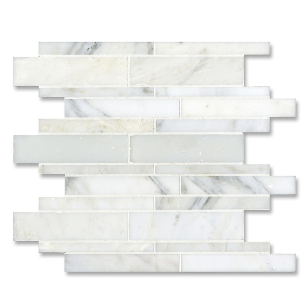 Del Greco shown in a mix of honed and polished Calacatta Radiance is part of New Ravenna's Studio Line of ready to ship mosaics.