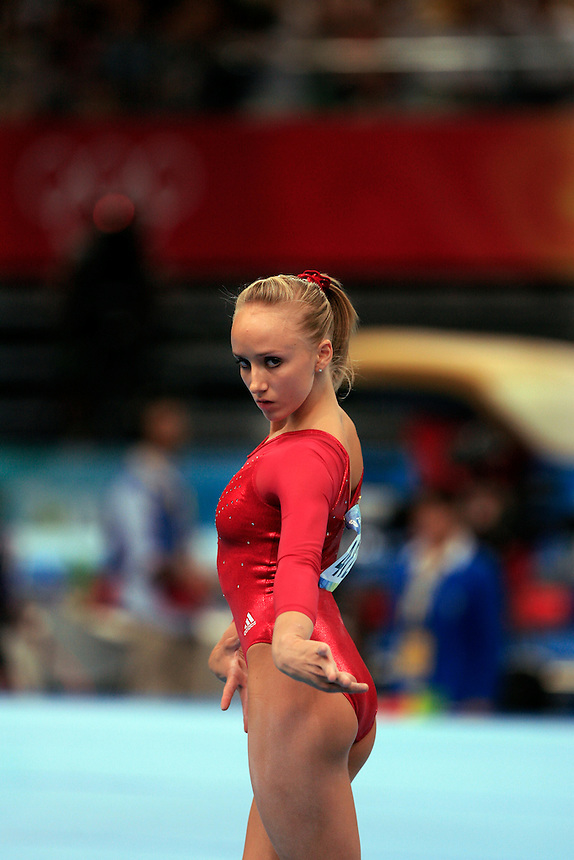Nastia Liukin of the United states performs her floor routine at the Beijing Olympics August 17, 2008.