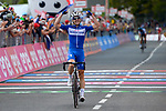 Maximilian Schachmann (GER) Quick-Step Floors wins Stage 18 of the 2018 Giro d'Italia, running 196km from Abbiategrasso to Prato Nevoso, Italy. 24th May 2018.<br /> Picture: LaPresse/Marco Alpozzi | Cyclefile<br /> <br /> <br /> All photos usage must carry mandatory copyright credit (&copy; Cyclefile | LaPresse/Marco Alpozzi)