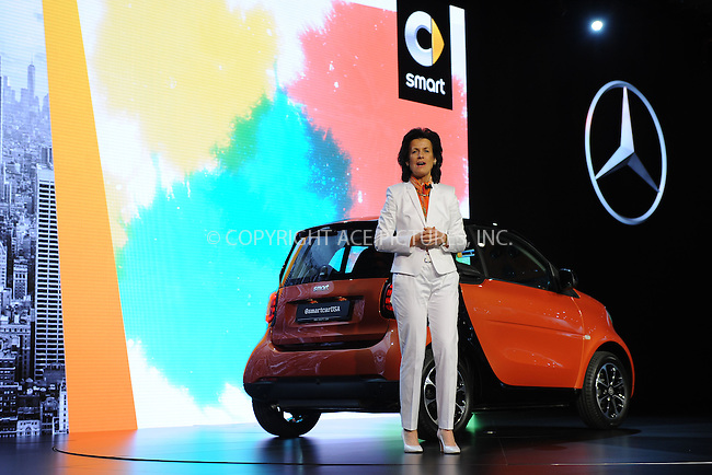 WWW.ACEPIXS.COM<br /> April 1, 2015 New York City<br /> <br /> Annette Winkler, chief executive officer of Mercedes-Benz USA, unveils the Mercedes-Benz revised smart fortwo city car at the New York International Auto Show at the Jacob K. Javits Convention Center on  April 1, 2015 in New York City.<br /> <br /> Please byline: Kristin Callahan/AcePictures<br /> <br /> ACEPIXS.COM<br /> <br /> Tel: (646) 769 0430<br /> e-mail: info@acepixs.com<br /> web: http://www.acepixs.com