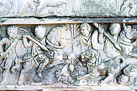 Greek Art:  Sarcophagus-- Lion-hunting bas relief, Ostia.  Photo '83.