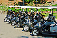 Golf Carts Lined up Ready to Go, Indian Wells, Ca, Golf, Driving Range, rolling fairways, beautiful greens, natural settings