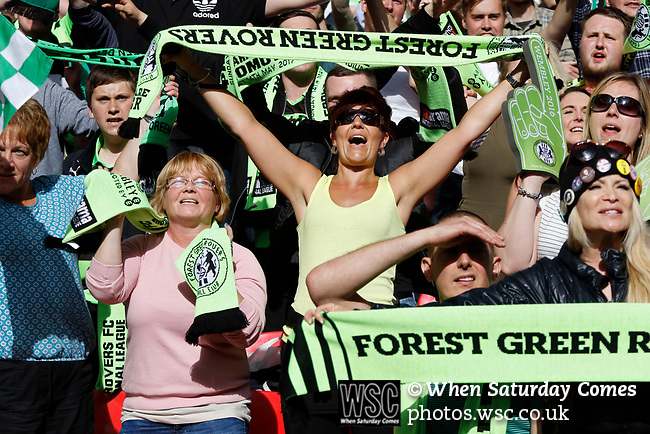 Tranmere Rovers 1 Forest Green Rovers 3, 14/05/2017. Wembley Stadium, Conference play off Final. Some of Forest Green's female fans celebrate during the Vanarama Conference play off Final  between Tranmere Rovers v Forest Green Rovers at the Wembley. Photo by Paul Thompson.
