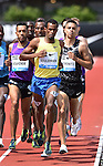 Ayanleh Souleiman of Djibouti leads the pack around the final lap of the Men's One Mile Run on the final day of the Prefontaine Classic at Hayward Field in Eugene, Oregon, USA, 30 MAY 2015. (EPA photo by Steve Dykes)