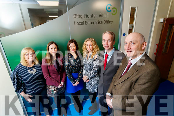 Pictured are members of the Local Enterprise Office Kerry Team in Kerry County Council, are l-r: Lisa O'Carroll (Business Advisor), Bríd Bowler (Administration), Eilish O'Donoghue (Administration), Fiona Leahy (Business Advisor), Victor Sheahan (Senior Enterprise Development Officer) and Tomás Hayes (Head of Local Enterprise).