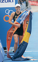 31 AUG 2007 - HAMBURG, GER - Lisa Norden (SWE) celebrates victory - Under 23 Womens World Triathlon Championships. (PHOTO (C) NIGEL FARROW)