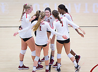 STANFORD, CA - November 4, 2018: Michaela Keefe, Tami Alade, Mackenzie Fidelak, Jenna Gray, Kathryn Plummer, Morgan Hentz at Maples Pavilion. No. 2 Stanford Cardinal defeated the Utah Utes 3-0.