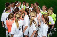 Oregon huddles after a scoreless first half, before going on to win the WIAA Division 2 girls soccer state championship, on Saturday, June 20, 2015 at Uihlein Soccer Park in Milwaukee, Wisconsin