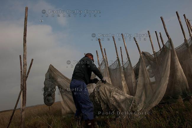 Venezia - Ivan Bognolo e Gregorj preparano le reti lasciate in barena ad asciugare, per la pesca delle moeche.<br /> Venice- Ivan Bognolo and Gregorj preparing the nets for  fishing