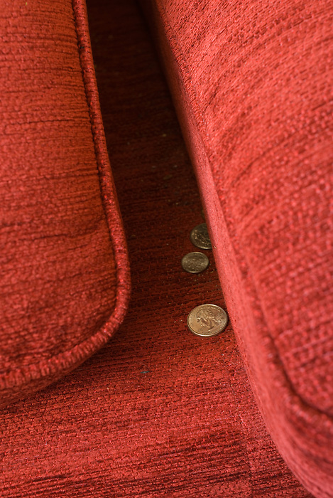 A few coins found under sofa cushions.