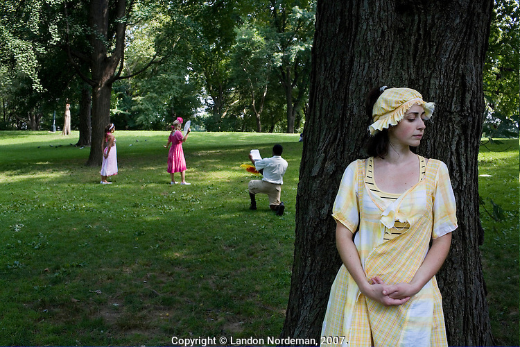 NEW YORK - JUL 26: Cast members of The Recruiting Officer, a play being performed by the New York Classical Theatre in Central Park, conduct a technical rehearsal on Thursday, July 26, 2007, in New York City. (Photo by Landon Nordeman)