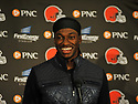 CLEVELAND, OH - AUGUST 18, 2016: Quarterback Robert Griffin III #10 of the Cleveland Browns laughs during a press conference after a preseason game on August 18, 2016 against the Atlanta Falcons at FirstEnergy Stadium in Cleveland, Ohio. Atlanta won 24-13. (Photo by: 2016 Nick Cammett/Diamond Images) *** Local Caption *** Robert Griffin III