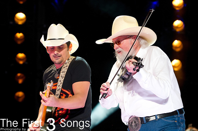 Brad Paisley performs at LP Field during Day Four of the 2013 CMA Music Festival in Nashville, Tennessee.