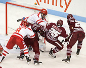 Ryan Cloonan (BU - 8), Ryan Badger (UMass - 21), Doyle Somerby (BU - 27), Luke McElhenie (UMass - 25), Joseph Widmar (UMass - 26) - The Boston University Terriers defeated the University of Massachusetts Minutemen 3-1 on Friday, February 3, 2017, at Agganis Arena in Boston, Massachusetts.The Boston University Terriers defeated the visiting University of Massachusetts Amherst Minutemen 3-1 on Friday, February 3, 2017, at Agganis Arena in Boston, MA.