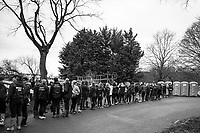 London. United Kingdom,  &quot;Queueing for the Loo&quot; before boating for the 2018 Women's Head of the River Race.  location Barnes Bridge, Championship Course, Putney to Mortlake. River Thames, <br />