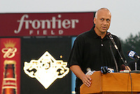 August 29, 2003:  Cal Ripken Jr. speaks as he's inducted into the Rochester Red Wings Hall of Fame before an International League game at Frontier Field in Rochester, NY.  Photo by:  Mike Janes/Four Seam Images