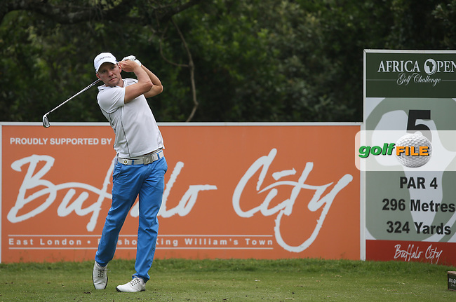 Maximilian  Kieffer (GER) drives to the blind 5th during Round One of The Africa Open 2014 at the East London Golf Club, Eastern Cape, South Africa. Picture:  David Lloyd / www.golffile.ie