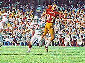 Washington Redskins tight end Jerry Smith (87) makes a catch during the game against the St. Louis Cardinals at RFK Stadium in Washington, DC on October 21, 1973.  In pursuit is Cardinals middle linebacker Mark Arneson (57).  The Redskins won the game 31-13.<br /> Credit: Arnie Sachs / CNP