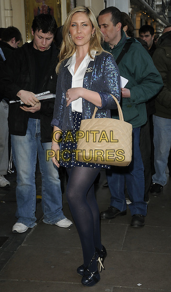HEIDI RANGE - SUGABABES.Attending the 'Sweet Charity' Press Night at the Theatre Royal, Haymarket, London, England UK, May 4th 2010. .full length white shirt blue sequined sequins chanel brooch logo bronze tanned jacket bag purse tights polka dot platform heels shoes.CAP/CAN.©Can Nguyen/Capital Pictures.