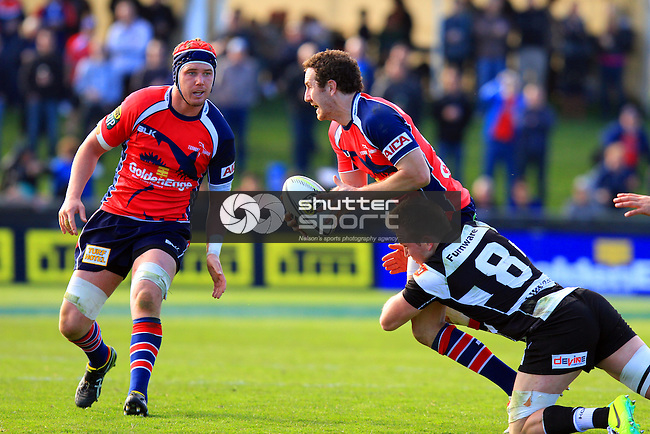 Marty Banks in the Tasman Makos vs Hawkes Bay Magpies ITM Cup rugby match held at Lansdowne Park, Blenheim 17th August 2014. Photo Gavin Hadfield / Shuttersport