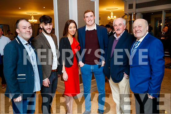 Niall Horgan, Jeff O'Donoghue, Emma Looney, Brendan O'Sullivan, Joe Wallace and Tom O'Donoghue, pictured at the Kerry GAA awards held at The Rose Hotel, Tralee on Saturday night last.