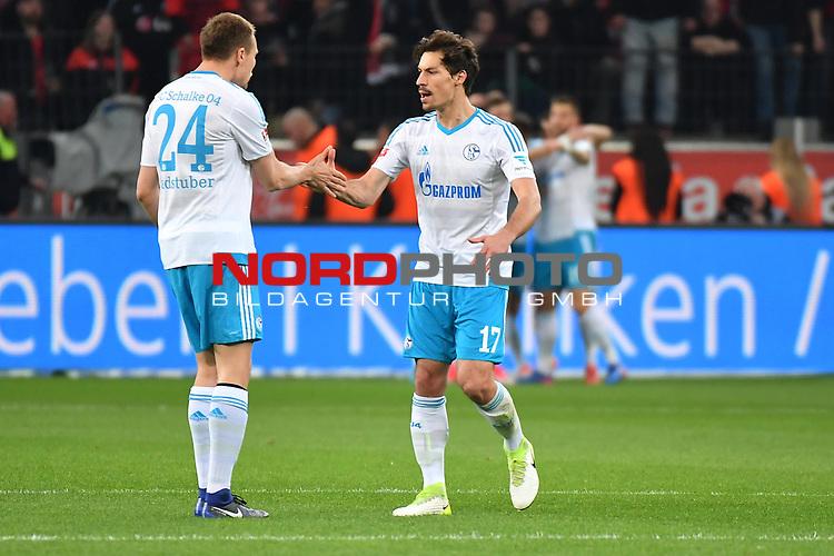 28.04.2017, BayArena, Leverkusen , GER, 1.FBL., Bayer Leverkusen 04 vs. FC Schalke 04<br /> im Bild / picture shows: <br /> Holger Badstuber (FC Schalke #24), und Benjamin Stambouli (FC Schalke #17),  freuen sich &uuml;ber das 1:0 f&uuml;r Schalke <br /> <br /> <br /> <br /> Foto &copy; nordphoto / Meuter