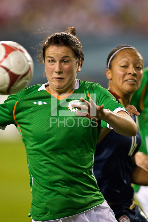 Republic of Ireland (IRE) defender Niamh Fahey (4). The United States Women's National Team (USA) defeated the Republic of Ireland (IRL) 2-0 during an international friendly at Lincoln Financial Field in Philadelphia, PA, on September 13, 2008.