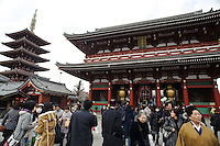Sensoji temple, Asakusa, Tokyo, Japan, February 19, 2011.Yagenbori, founded in 1625 was the first to produce the now popular Japanese condiment, shichimi.