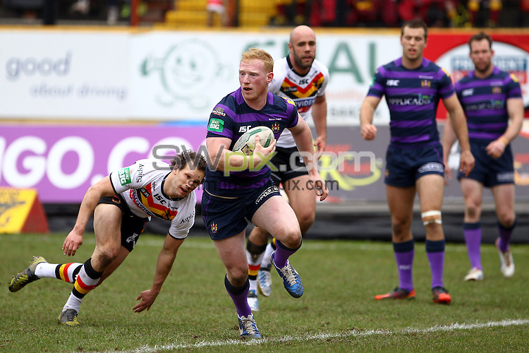 PICTURE BY ALEX WHITEHEAD/SWPIX.COM - Rugby League - Super League - Bradford Bulls vs Wigan Warriors - The Provident Stadium, Bradford, England - 14/04/13 - Wigan's Liam Farrell runs in for a try.