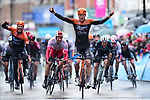 Jesper Asselman (Ned) Roompot-Charles holds off a charging peloton to win Stage 1 from the day long breakaway of the 2019 Tour de Yorkshire, running 178.5km from Doncaster to Selby, Yorkshire, England. 2nd May 2019.<br /> Picture: ASO/SWPix | Cyclefile<br /> <br /> All photos usage must carry mandatory copyright credit (&copy; Cyclefile | ASO/SWPix)