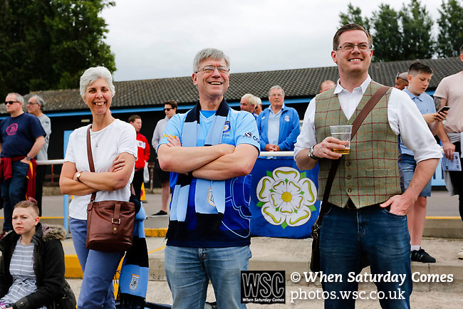 Yorkshire fans with Phil Hegarty Chairman of the Yorkshire International Football Association. Yorkshire v Parishes of Jersey, CONIFA Heritage Cup, Ingfield Stadium, Ossett. Yorkshire's first competitive game. The Yorkshire International Football Association was formed in 2017 and accepted by CONIFA in 2018. Their first competative fixture saw them host Parishes of Jersey in the Heritage Cup at Ingfield stadium in Ossett. Yorkshire won 1-0 with a 93 minute goal in front of 521 people. Photo by Paul Thompson