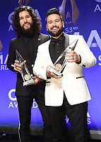 NASHVILLE, TN - NOVEMBER 13:  Dan + Shay in the press room at the 53rd Annual CMA Awards at the Bridgestone Arena on November 13, 2019 in Nashville, Tennessee. (Photo by Scott Kirkland/PictureGroup)
